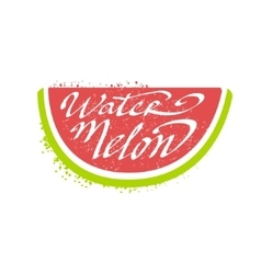 Watermelon Name Of Fruit Written In Its Silhouette vector