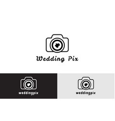 wedding pix with camera logo vector image