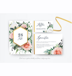 wedding table number place card details with vector image