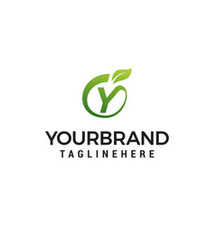 y logo initial letter design template with leaf vector image