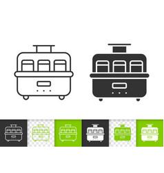 Yogurt maker simple black line icon vector