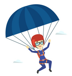 Young happy woman flying with parachute vector
