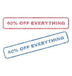 40 percent off everything textile stamps vector image
