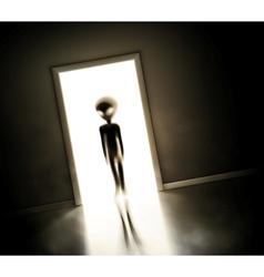 Alien at door vector image vector image