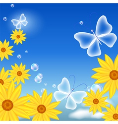 Flowers and butterflies vector image vector image