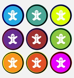 Gingerbread man icon sign Nine multi colored round vector image