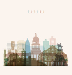 havana skyline detailed silhouette vector image