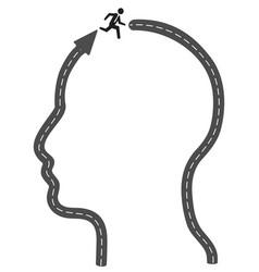 head arrow road running to successful vector image