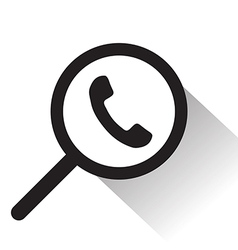 magnifying glass with Telephone icon vector image vector image