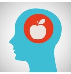 silhouette head apple icon graphic vector image