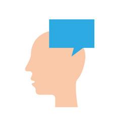silhouette head human speech bubble communication vector image vector image