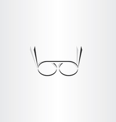 stylized black reading glasses icon vector image vector image