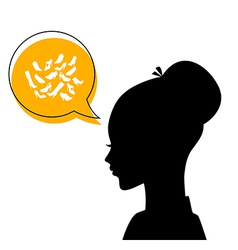 Womans head with shoes icons vector image