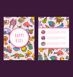 card template hand drawn children toys on vector image