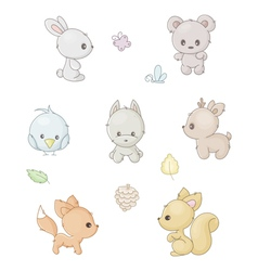 collection of forest animals vector image vector image