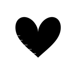 Contour heart with love and passion symbol icon vector
