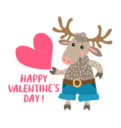 valentine s day greeting card with deer vector image vector image