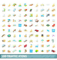 100 traffic icons set cartoon style vector image