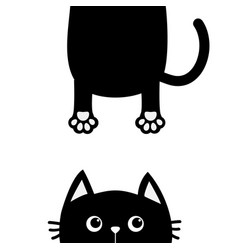 Black cat funny face head silhouette looking up vector