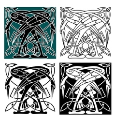 Celtic birds ornament with herons vector image vector image