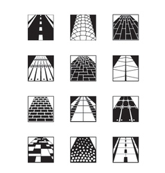Different types of road surfaces vector image