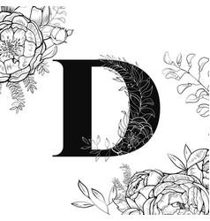 flower alphabet letter d pattern vector image vector image