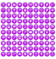 100 finance icons set purple vector