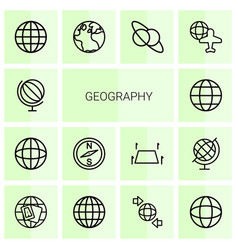 14 geography icons vector image