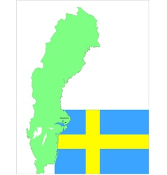 6135 sweden map and flag vector