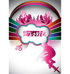 abstract summer composition with bmx biker vector image