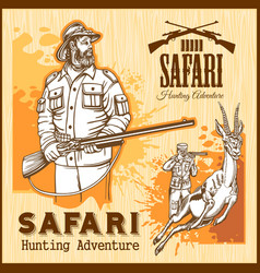 African safari hunting retro poster vector