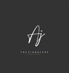 Aj initial letter handwriting and signature logo vector