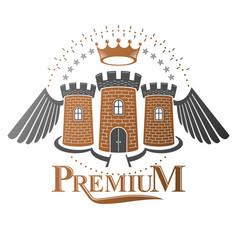 Ancient citadel emblem heraldic design element vector