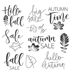 Autumn sale hand written inscription set vector
