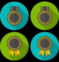 Award or badge with ribbons and decoration Modern vector image