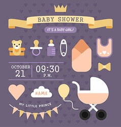 Bashower invitation card template its a baby vector