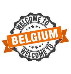 belgium round ribbon seal vector image