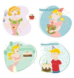 birthday and cake vector image