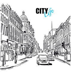 Black and white city street template vector