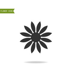 black flat silhouette object of flower for logo vector image