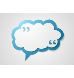 Blue cloud speech bubble with commas quote vector