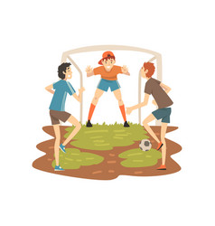 boys playing soccer on sport field summer outdoor vector image