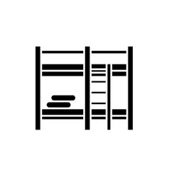 bunk bed black icon sign on isolated vector image