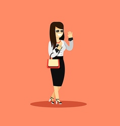 Business woman in black white costume vector