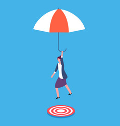 Businesswoman with umbrella aiming on target vector