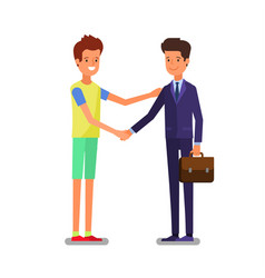 cartoon business people handshake for dealing vector image