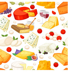 cheeses realistic composition with edam maasdam vector image