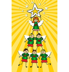 Children Christmas Tree over yellow background vector image