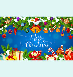 christmas gifts xmas decorations greeting card vector image