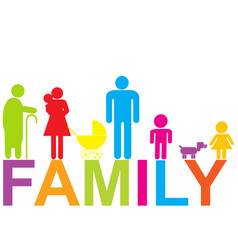 colored family icon with children parents and vector image